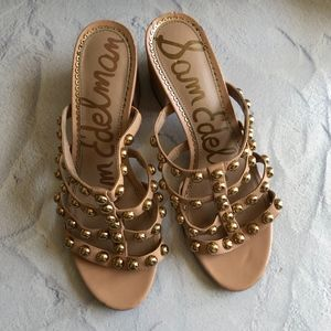 Sam Edelman Tan Suri Studded Sandals 7.5